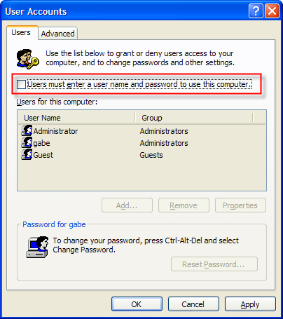 User Accounts: How to Enable Automatic Windows XP Login
