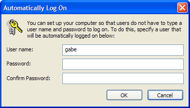 Automatically Log On password confirmation