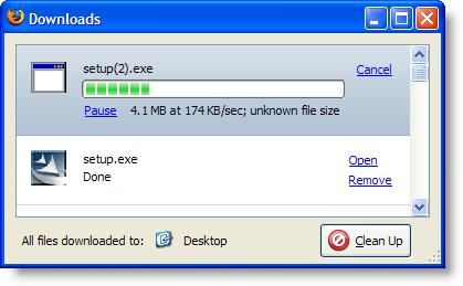 Firefox Download window