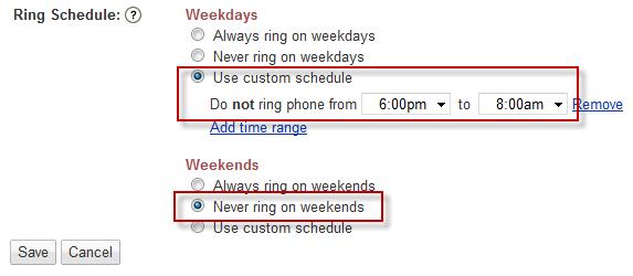 custom ring schedule